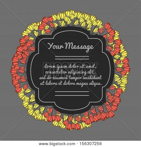 Vector decorative frame. Place for text with flowers. Funeral card. Mourning frame.