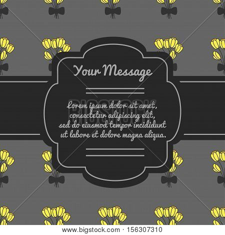 Vector decorative frame. Place for text with flowers. Mourning frame. Funeral card.