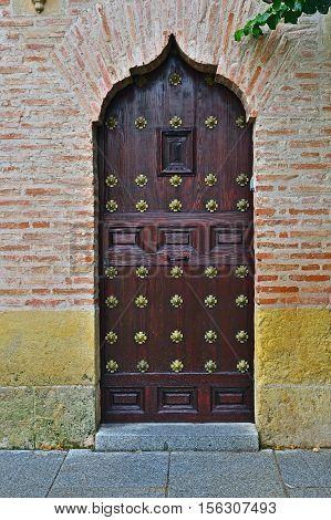 Wooden door of musulman style in historic house