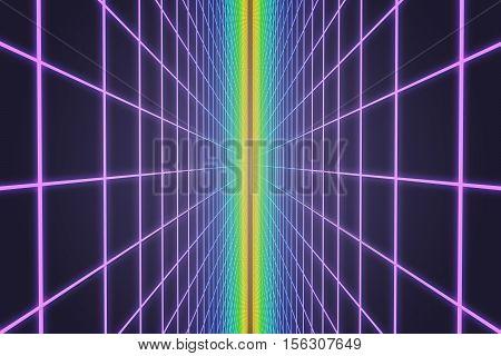 3D Illustration - Colorful retro grid background.