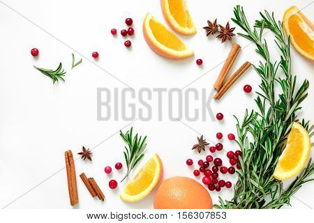 Winter warmer drink recipe concept punch or mulled wine or Xmas party cocktail ingredients blank space for a text flat lay view from above