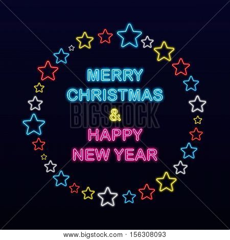 Merry Christmas And Happy New Year On Neon Stars Background