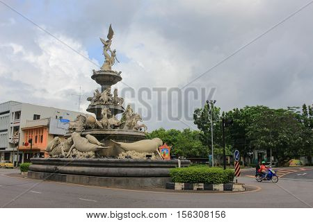 Trang Thailand - November 14 2016: Trang dugongs traffic circle the landmark that every tourist and visitor must photo and come. dugongs is one of symbol of Trang