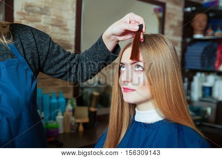 Barber shows to the girl the chosen hair color.