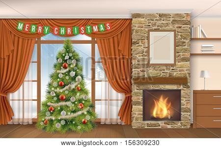 Christmas Interior with fireplace and fir tree. Winter landscape outside the window on the street in the fireplace burning firewood. Interior of chalet or mountain lodge.