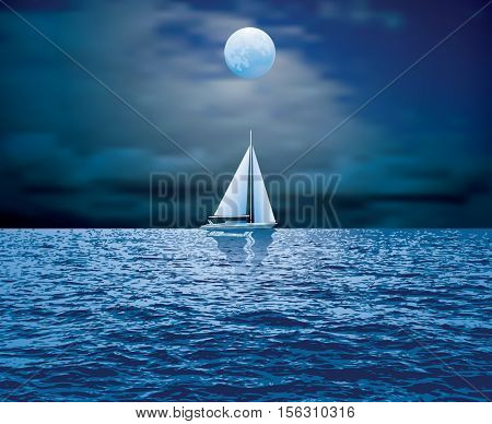 sailboat sail on blue sea ocean horizon, vector background, sailing  illustration, night moonlight sailing