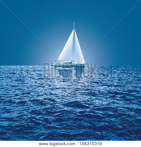sailboat sail on blue sea ocean horizon, vector background, sailing  illustration