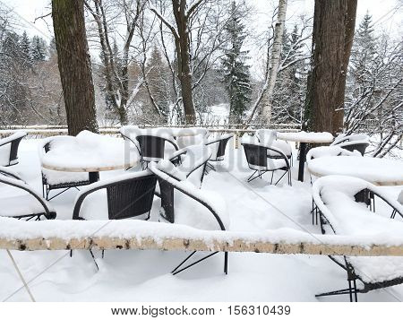 Snow dining outdoors, on tables and chairs is a lot of white snow, there are no visitors, amid many trees, Christmas trees