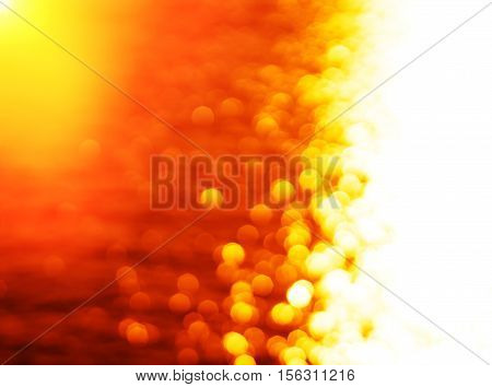 Right aligned glowing sun path ocean sunset with light leak background hd
