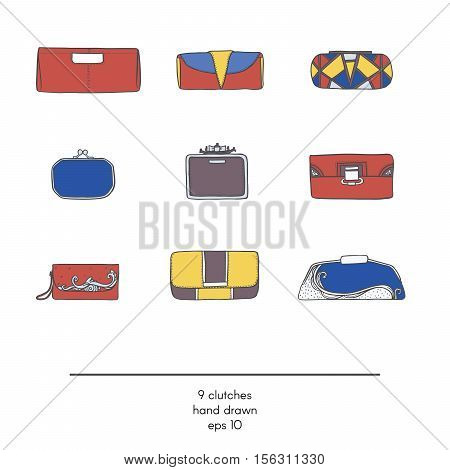Stylish collection of 9 fashion vector small clutch bags isolated on white background. Color illustration in red yellow and blue. Hand drawn fashion trend glamour set kit in vogue style.