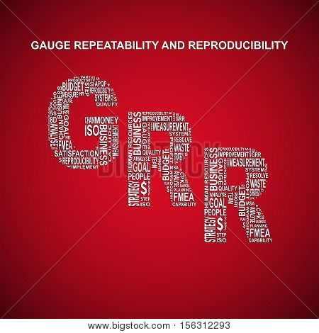 Gauge repeatability and reproducibility diagonal typography background. Red background with main title GRR filled by other words related with gauge repeatability and reproducibility method