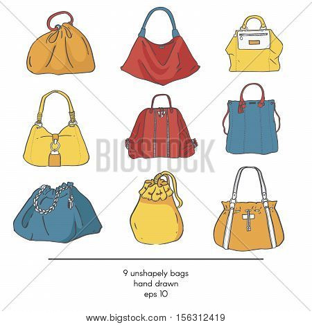 Stylish collection of 9 fashion formless vector bags isolated on white background. Color illustration with bags in red yellow and blue. Hand drawn fashion trend glamour kit in vogue style.
