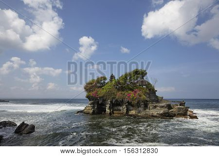 The Tanah Lot Temple the most important indu temple of Bali Indonesia.