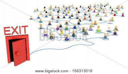 Group of small symbolic figures linked by lines to red exit door 3d illustration isolated horizontal