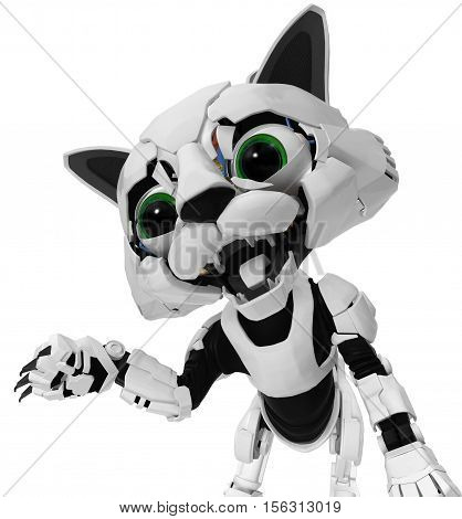 Robotic kitten claw arm 3d illustration vertical isolated