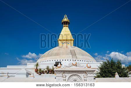 Boudhanath stupa in Kathmandu, Nepal. The top has been rebuilt since 2015 Nepal earthquake.
