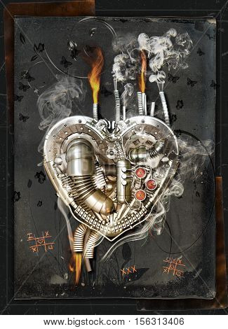 A mechanical heart has a lovesickness 3D Illustration