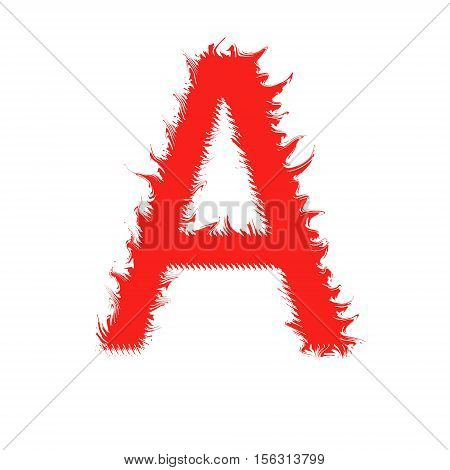 Fire letter A isolated on white background