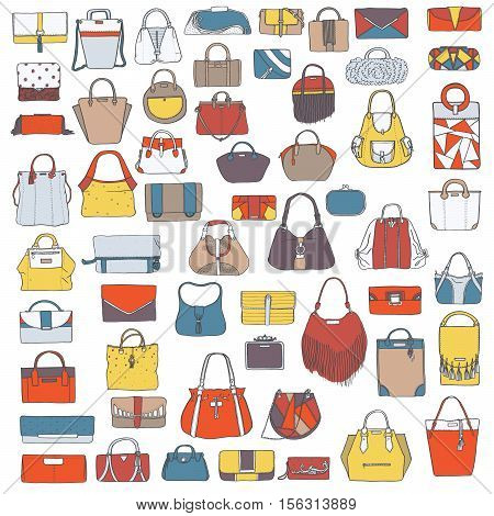 Large vector set of colorful doodle fashion bags hand drawn with black ink isolated on white background. Illustration with group of various handbag purse pouch satchel clutch bag.