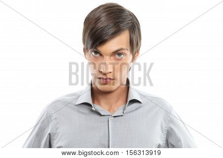 young man portrait isolated on white background