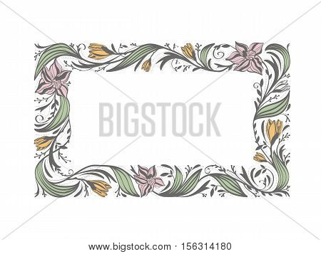 Illustration of Floral Flower Decorative Frame With Copyspace