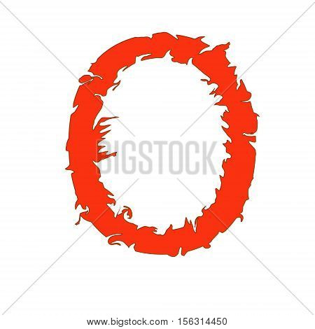 Fire letter O isolated on white background with clipping path