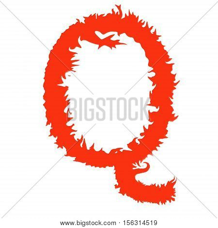 Fire letter Q isolated on white background with clipping path