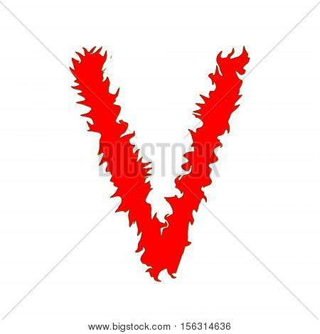 Fire letter V isolated on white background with clipping path