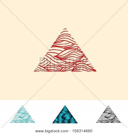 Japan Style Abstract Ocean Water Triangle Logo Design