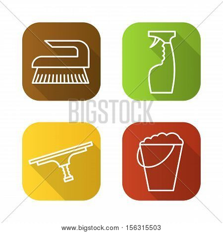 Cleaning items and tools flat linear long shadow icons set. Bucket with foam, brush, glass cleaning spray, tool for window cleaning. Vector line illustration