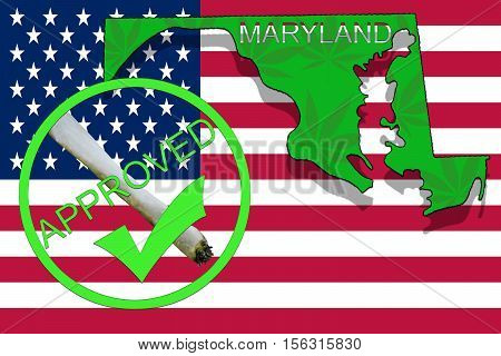 Maryland State On Cannabis Background. Drug Policy. Legalization Of Marijuana On Usa Flag,