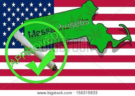 Massachusetts State On Cannabis Background. Drug Policy. Legalization Of Marijuana On Usa Flag,