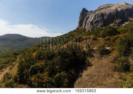 Russia. Crimea. Sudak. 13.09. 2016 Autumn mountain landscape