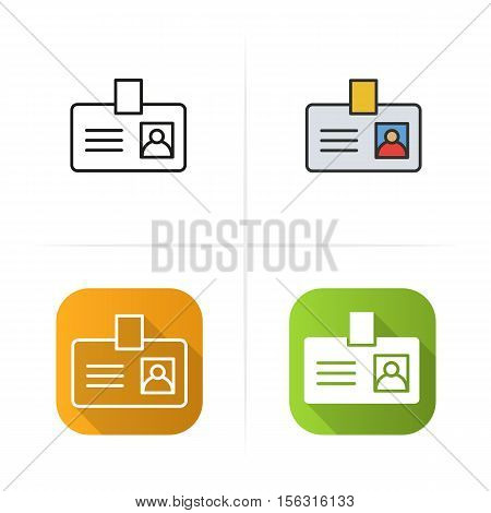 Badge icon. Flat design, linear and color styles. Isolated vector illustrations