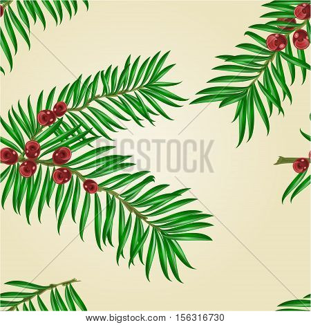 Seamless texture Yew branches with red berries nature background vector illustration