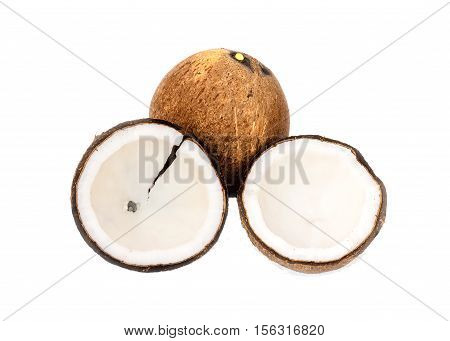 Coconut. and pulp coconut isolated on white background