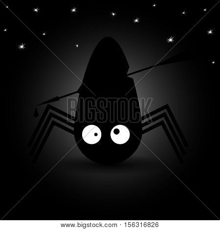 Spider with big eyes. Night sky. Vector illustration