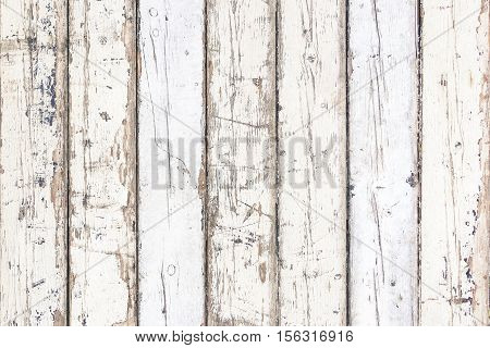 White old wood background vertical stripes - Ivory color painted planks weathered and dirty