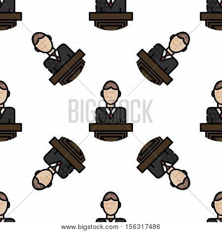 Law flat pattern. Judicial background. Vector illustration EPS 10