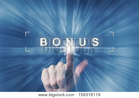 hand clicking on bonus button with zoom effect background