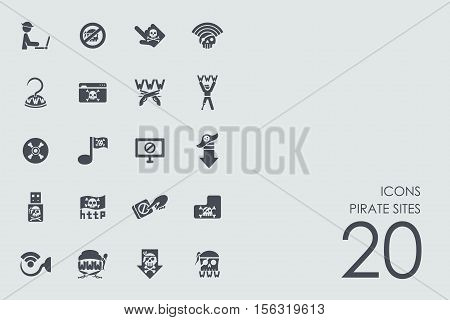 pirate sites vector set of modern simple icons