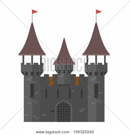 Medieval castle with towers - walled town