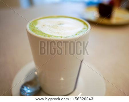 Hot Macha Green Tea Latte On A Cup