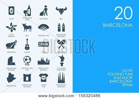 BLUE HAMSTER Library Barcelona vector set of modern simple icons