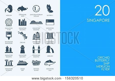 BLUE HAMSTER Library Singapore vector set of modern simple icons
