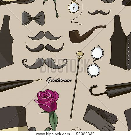 Pattern of vector elements for gentlemen, design elements for your projects, cards, invitation, gentleman clothes