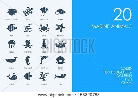 BLUE HAMSTER Library marine animals vector set of modern simple icons