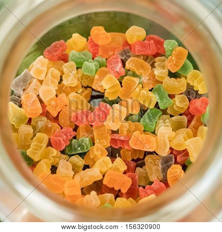 Gummy Bear In A Jar From Top View