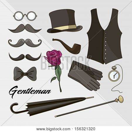Set of vector elements for gentlemen, design elements for your projects, cards, invitation, gentleman clothes