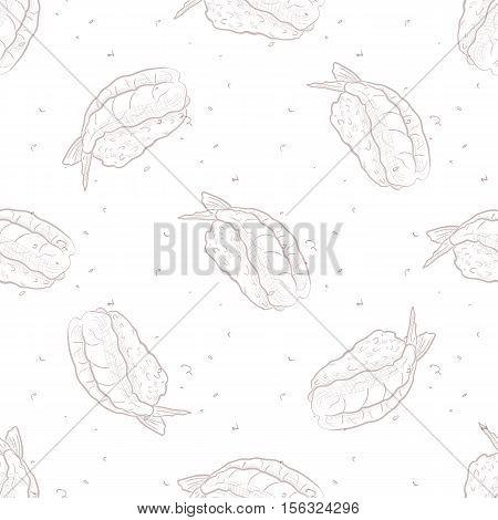Vector seamless pattern Ebi Nigiri Sushi, sketch